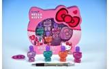 Sada laků na nehty Hello Kitty 5cm 4ks + flitry + pilník v krabičce