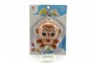 Hrací strojek natahovací opička plast 12cm na kartě