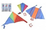 Drak létající polyester 45x25cm/25x28cm/46x28cm barevný v sáčku 36ks v boxu