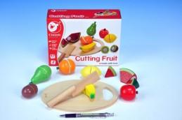 Ovoce krájecí s prkénkem dřevo 17ks 21,5x15x7cm v krabici od 24 měsíců - Teddies s.r.o