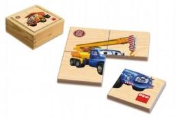 Puzzle dřevěné Tatra 6x4 dílky v krabičce 11x11x4,5cm 1+ - Rock David