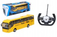 Autobus RC plast 28cm na dálkové ovládání + bateriový pack se světlem v krabici 40x13x13cm