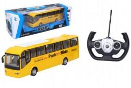 Autobus RC plast 28cm na dálkové ovládání + bateriový pack se světlem v krabici 40x13x13cm - Rock Da