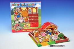 Domeček dřevěná farma Moje první zvířátka 31x31cm 28ks+podložka v krabici - Teddies s.r.o