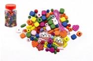 Korálky dřevěné barevné mix v plastové dóze 7x10cm