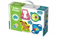 Puzzle baby Zvířátka 4 x 2 dílky v krabici 27x19x6cm 1+