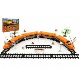 Dráha Vlak+koleje a doplňky plast 33ks na baterie se zvukem se světlem v krabici 58x39x7cm