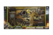 Vojenská základna s doplňky plast + vrtulník na baterie se světlem se zvukem v krabici 66x33x11cm