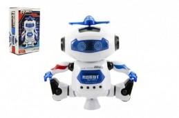 Robot tancující plast 15cm na baterie se světlem se zvukem v krabici 14x23x9cm - Rock David