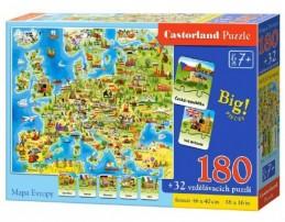 Puzzle Mapa Evropy 180 dílků + 32 puzzlí naučné 46x40cm v krabici 33x23x5cm - Rock David