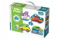 Puzzle baby Dopravní prostředky 4 x 2 dílky v krabici 27x19x6cm 1+