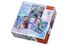Puzzle 3v1 Frozen/Ledové Království 20x19,5cm v krabici 28x28x6cm - Rock David