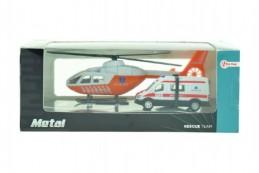 Vrtulník + auto ambulance kov v krabičce 22x9x10cm - Rock David