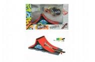 Skateboard prstový s rampou plast v krabici 28x18x11cm