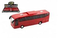 Autobus červený plast 23cm na setrvačník na baterie se zvukem se světlem