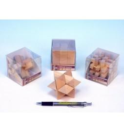 Hlavolam dřevo 7cm asst 4 druhy v plastové krabičce 12ks v boxu