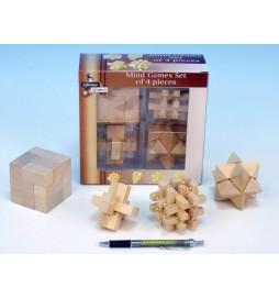Hlavolam dřevo 7cm 4ks v krabici
