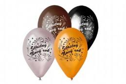Balonek nafukovací 11'' průměr 30cm Šťasný Nový rok 6ks v sáčku - Rock David