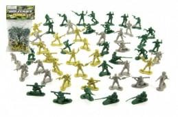 Vojáci sada plast 4cm 3 barvy v sáčku - Rock David