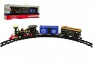 Lokomotiva/Vlak + vagónky s dráhou 11ks plast 45cm na baterie v krabici 55x19x10cm