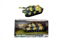 Tank plast 17cm na setrvačník na baterie se světlem se zvukem v krabici 21x11x9cm - Rock David