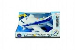 Letadlo plast 26cm na baterie se zvukem se světlem na setrvačník v krabici 27x16x19cm - Rock David
