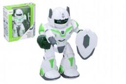 Robot chodící a otáčecí s doplňky 20cm na baterie se zvukem a světlem v krabici 23x24x10cm - Rock David