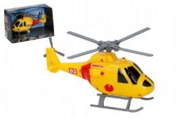 Helikoptéra/vrtulník záchranářský plast 20cm na baterie se světlem se zvukem v krabici - Rock David