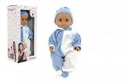 Panenka/Miminko Hamiro 40cm, pevné tělo overal modro bílý+ čepička modrá v krabici 20x43x13cm