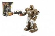 Robot chodící 18cm na baterie se zvukem se světlem v krabici 13x20x10cm