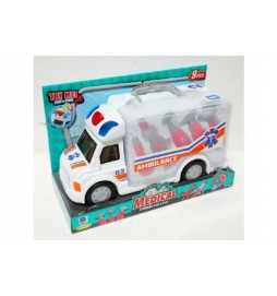 Auto ambulance s příslušenstvím 9ks plast 32cm na baterie se světlem se zvukem