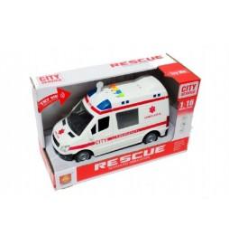 Auto ambulance plast 20cm na baterie se zvukem se světlem v krabici 27x16x11cm