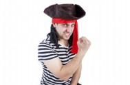 Klobouk pirát s vlasy karneval v sáčku