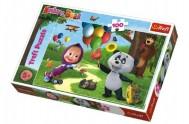 Puzzle Máša a Medvěd s přáteli 100 dílků 41x27,5cm v krabici 29x19x4cm