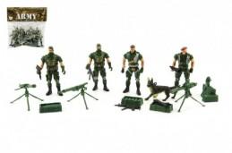 Sada vojáci 4ks s doplňky plast CZ design na kartě 18x19,5cm - Rock David