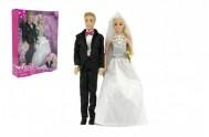 Panenka 2ks nevěsta a ženich plast 30cm v krabici 25x33x7cm