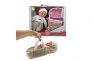 Panenka miminko měkké tělo s postýlkou plast 30cm v krabici 38x32x10cm 24m+