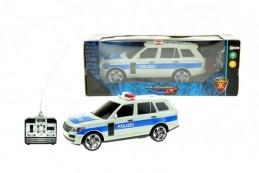 Auto RC policie plast 25cm na dálkové ovládání na baterie se světlem se v krabici 28x11x10cm - Rock
