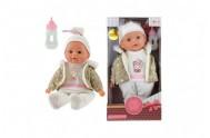 Panenka miminko v zimním oblečku měkké tělo s lahvičkou plast 30cm v krabici 17x30x10cm 24m+