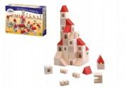 Stavebnice kostky 2,5cm dřevo městečko 100 dílků v krabici 29x19x6cm