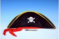 Klobouk pirátský s lebkou karneval 50cm