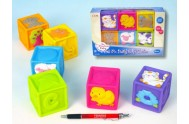 Dětské pískací kostky 6ks v krabici od 6 měsíců gumové