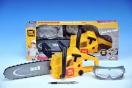 Motorová pila řetězová nářadí plast 46cm s brýlemi na baterie 3xAA se zvukem se světlem v krabici - Teddies s.r.o