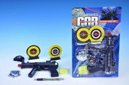 Pistole Samopal plast 20cm na kuličky +kuličky+terče+doplňky na kartě - Teddies s.r.o