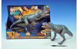 Dinosaurus plast 35cm měkké tělo pohyblivý na baterie se zvukem v krabici