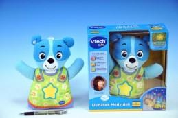 Usínáček Medvídek - modrý Vtech pro nejmenší plyš 22cm na baterie se zvukem se světlem od 0 měsíců - Teddies s.r.o