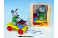 Myš s xylofonem dřevo tahací 20cm v krabičce od 12 měsíců