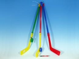 Hokejka plastová s pukem 74cm mix barev - Rock David