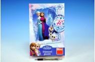 Puzzle Ledové království Frozen 33x47cm 200 dílků+lepidlo+kamínky v krabici 18x26x6cm