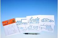 Šablony na malování voskovky magické - dopravní prostředky 6ks v sáčku